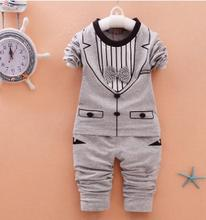 2019 Spring Autumn Baby Boy Clothes Set New Arrival Baby Girls Boys 0 1 2 3 4 Year 2PCS/set Cotton Long Sleeve Tie Outfit QHQ043