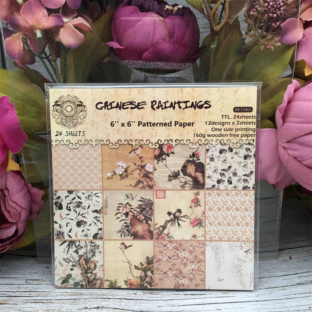 24pcs/Pack 6*6inch 15.2cm Chinese Painting Patterned Paper Pack For Scrapbooking DIY Happy Planner Card Making Journal Project