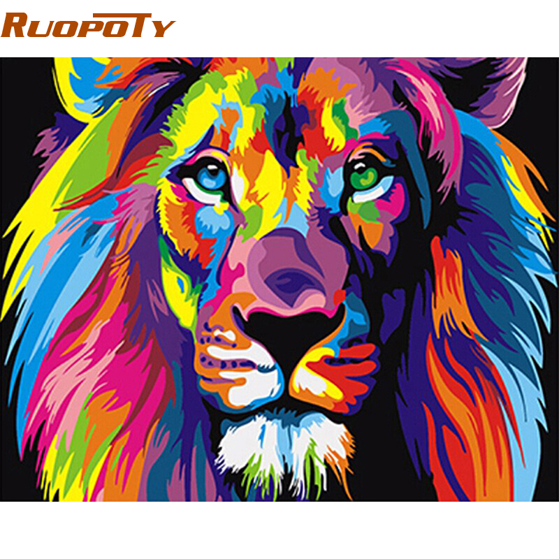 RUOPOTY Rahmen Bunte Lions Tiere DIY Malerei Durch Zahlen Moderne Hand Gemalt Öl Malerei Einzigartige Geschenk Für Kinder 40X50cm