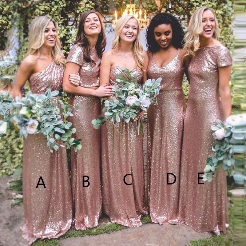 Bling Sparkly Rose Gold   Bridesmaid     Dresses   2019 Sequine Cheap Mermaid Two Pieces Prom Gowns Backless Country Beach Party   Dress