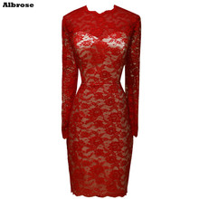 Elegant Evening Dress Lace Long Sleeve Sexy Sheath Red Evening Dresses Short Formal Party Dresses Cheap Women Gown