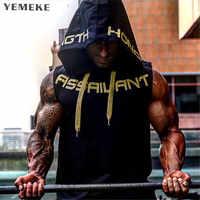 YEMEKE 2018 Herren Baumwolle Hoodie Sweatshirts fitness kleidung bodybuilding tank top männer Ärmellose Trend Tees Hemd Beiläufige weste