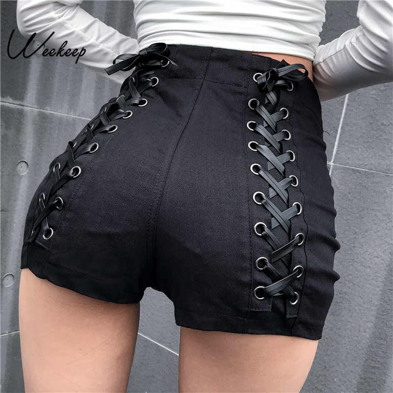 Weekeep Black Slim High Waist Shorts Women 2019 Summer High Street Bandage Criss-Cross Shorts Elegant Short Femme Bottom