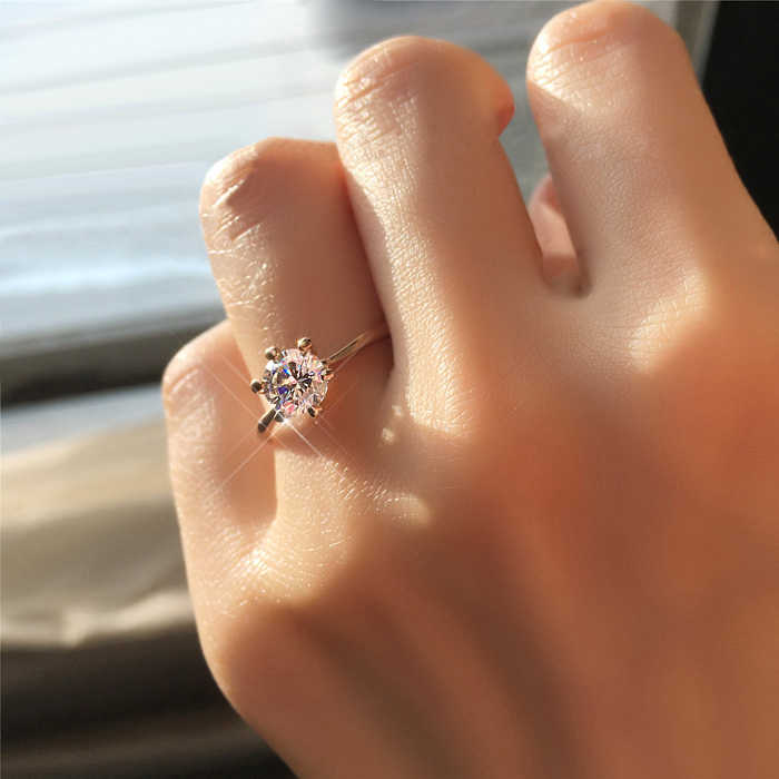 Engagement/Wedding Finger Rings For Women AAA+ Cubic Zirconia Rose Gold Color Fashion Jewelry For Women Girls R014