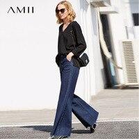 Amii Women Minimalist Denim Jeans 2018 High Waist Blue Bleach Wash Distressed 100% Cotton Female Flare Pants