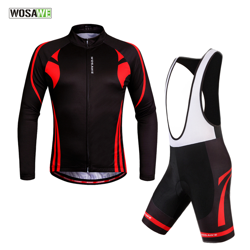WOSAWE Long Pro Quick Dry Cycling Jersey set +bib shorts Outdoor Sports Bicicleta Jacket MTB Riding Clothes Ropa Ciclismo