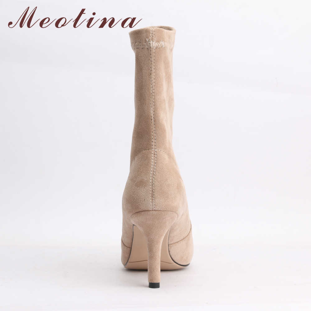 cc57526d08a7 ... Meotina Mid Calf Boots Women High Heel Pointed Toe Boots Stretch Fabric  Elastic Brand Boots Sexy ...
