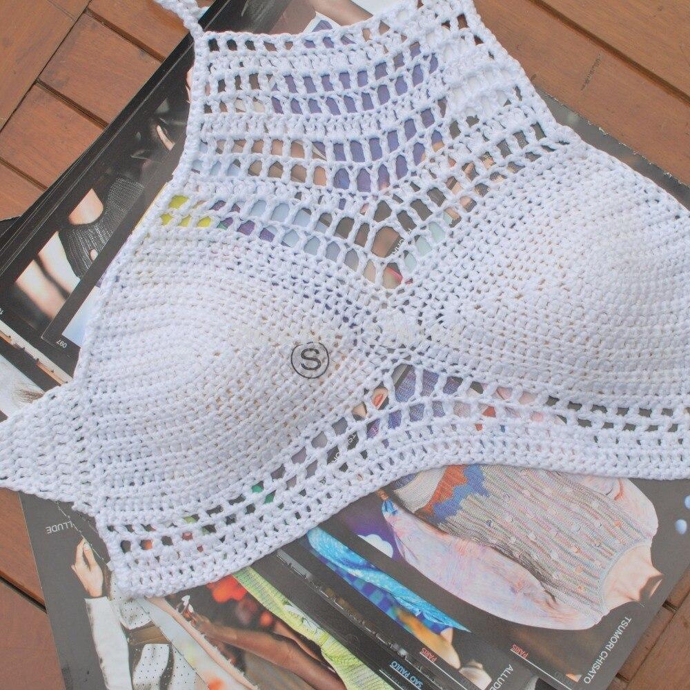 Crochet Halter Summer Crop Top Cizme de mână, croșetate, din - Imbracaminte sport si accesorii - Fotografie 4