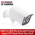 2-МЕГАПИКСЕЛЬНАЯ IP Камера Наружного 1080 P Водонепроницаемый IP66 Сеть 2.0MP 1920*1080 4 массив LED Ночного Видения HD CCTV Камеры P2P Plug & Play ONVIF