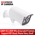 2MP Câmera IP Outdoor 1080 P Waterproof IP66 Rede 2.0MP 1920*1080 4 matriz de LED Night Vision HD CCTV Camera P2P Plug Jogue ONVIF
