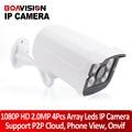 2MP IP Camera Outdoor 1080P Waterproof IP66 Network 2.0MP 1920*1080 4 Array LED Night Vision HD CCTV Camera P2P Plug Play ONVIF