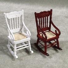a650f71a5 1/12 Dollhouse miniatura accesorios Mini silla mecedora de madera  simulación muebles juguetes para casa