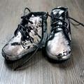 Couro genuíno botas com Pelúcia Primeiros Caminhantes Do Bebê lace-up mocassins bebê gils Sapatos menino 11-12.5 CM frete grátis