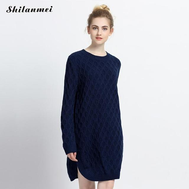 74232deca96 2017 Winter Women Sweater Dress Korean long sleeve Twist Knitted dress  causal side slit Navy Blue