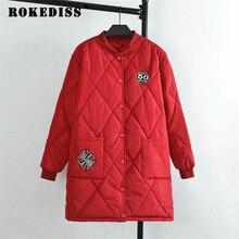4 Colors 2017 Autumn/Winter Women Patches Badge Long Parkas Plus Size 3XL 4XL Casual V-neck Zipper Parka Coat TG264