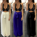 sale 2017 new summer sexy lace crop top strap trend womens two piece set long loose pants bodysuit elegant lady jumpsuit XD824
