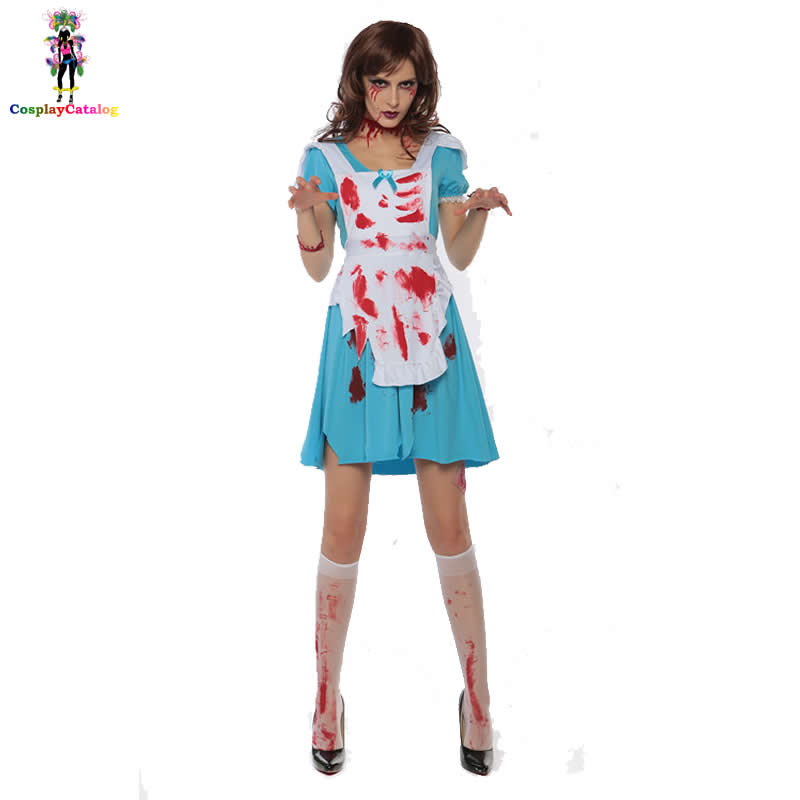 Halloween Bloody Demon Costume Scary Adult Party Women Alice Maid Scream Costumes Female Bloodstained Outfit Plus Size Kits