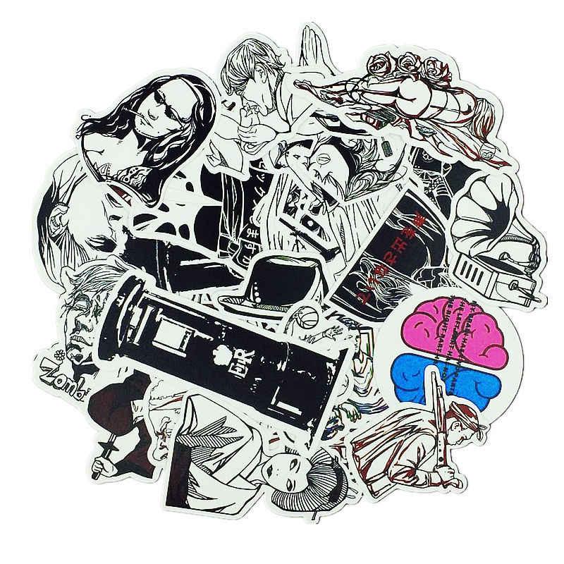 50 قطعة مختلط هالوين الأسود الأبيض مضحك العلامة التجارية ملصقات للمنزل الشارع ديكور ملصقا المحمول صائق الثلاجة لوح التزلج خربش لعبة