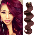 "Top Sale 7Ps/set 99J Burgundy Clip In Human Hair Extensions 16""-24""Virgin Brazilian Clip In Extensions Wine Red Remy Body Wave"