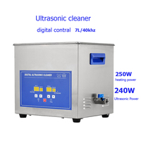 Digital 40kHz stainless steel Ultrasonic Cleaner Bath 7L 240W for Engine Parts Moto/Auto parts Commercial Component