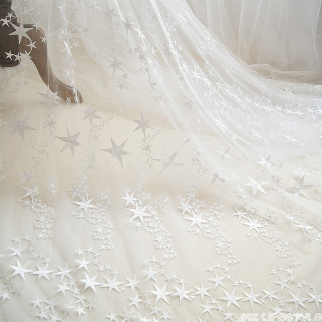 Buulqo 50 145cm 2017 New Star Embroidery White Gauze Lace Fabric For Diy Wedding Dress