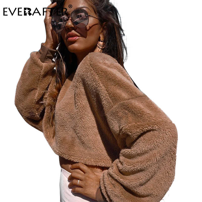 0decc5b0747e37 EVERAFTER 2018 Fashion Brown Women Sweatshirts O-Neck Lantern Sleeve Loose  Cropped Hoodies Autumn Winter