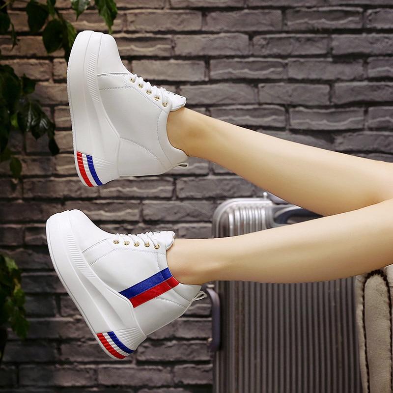Basse avorio Coreana Single Versione Casual Aumentato Alto bianco Il Studenti Nero Di Autunno Tacco Scarpe Harajuku Col Selvatici Nuove Donne RX6p6U