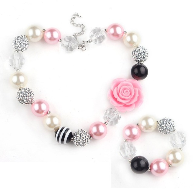 Cute design baby pink rose flower beads necklace girl bubblegum cute design baby pink rose flower beads necklace girl bubblegum necklace kids child chunky beaded neckalce audiocablefo
