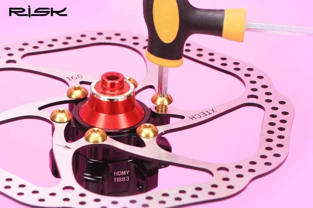 סיכון 12 יחידות M5x10mm דיסק בלם רוטור ברגי T25 Torx טיטניום TI MTB bicylce בורג מחזיק בקבוק אופני מים בקבוק כלוב בורג