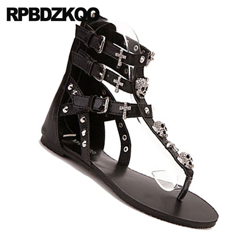 ... Strap Booties Flat T Boots Skull Rhinestone Roman Women Strappy Thong  Embellished Gladiator Sandals Shoes Stud ... 0352841899bf