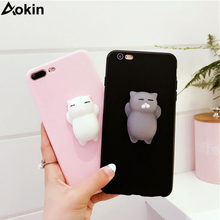 Aokin fundas 5s case for iphone 6s Case Silicone 3D Cute Squishy Cat Kitty Phone Cases for iPhone 5 6 7 8 plus x Caphina coque(China)
