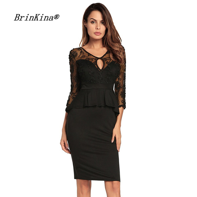 Brinkina Solid Black Lace Dress 34 Sleeves Knee Length Bodycon