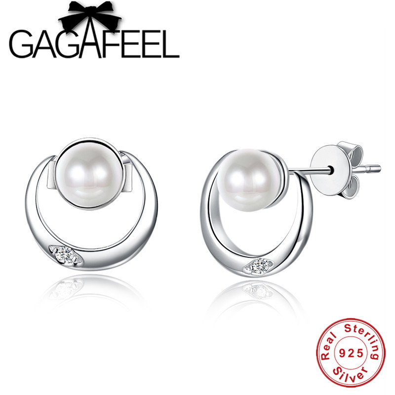 GAGAFEEL Pearl font b Earrings b font Jewelry 925 Sterling Silver CZ Crystal Push back Stud