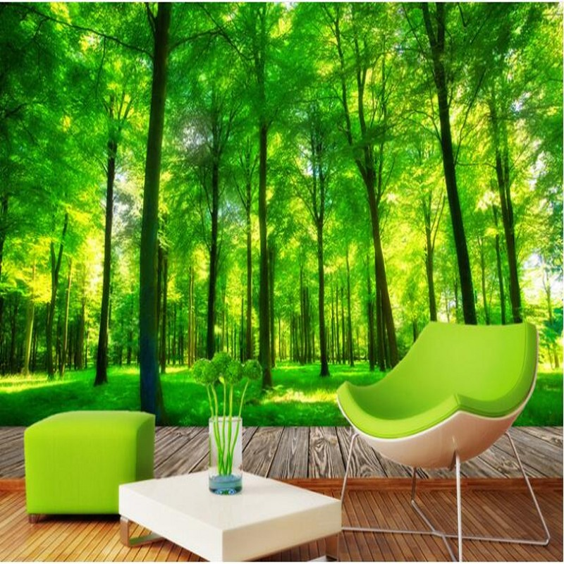 Us 8 85 41 Off Beibehang Customized Large Scale Murals 3d Aesthetic Three Dimensional Green Forest Tv Wall Wallpaper Non Woven Wallpaper In