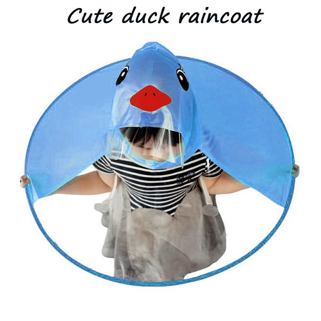 Cute Raincoat Cartoon duck Kids Rain Coat UFO Children Umbrella Hat Magical Hands Free Tops Boys And Girls Windproof Poncho Baby