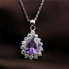 Amethyst Pendant 925 Sterling Silver Purple Crystal Birthstone gifts Wedding Jewelry Water Drop Crystal Engagement Pendant