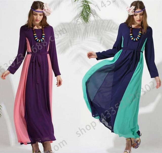 2016 Ограниченное Продвижение Взрослых Мода шитье цвет шифон Абая Jilbabs И Abayas Мусульманская Женщина С Длинными рукавами Арабский Платье W834