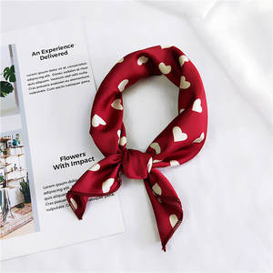 40 Styles Square Scarf Hair Tie Band For Business Party Women Elegant Small Vintage Skinny Retro Head Neck Silk Satin Scarf
