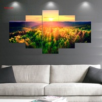 modern wall art prints posters HD Printed 5 piece canvas art mountains woods sunset landscape wall painting for bedroom decor