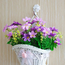 beautiful White Woven artificial flower hanging baskets on door wall graden for wedding festival party home decoration