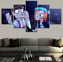 Canvas Picture Home Decor Framework 5 Pieces Minecraft Story Mode Jesse and Petra Painting Print Poster For Living Room Wall Art