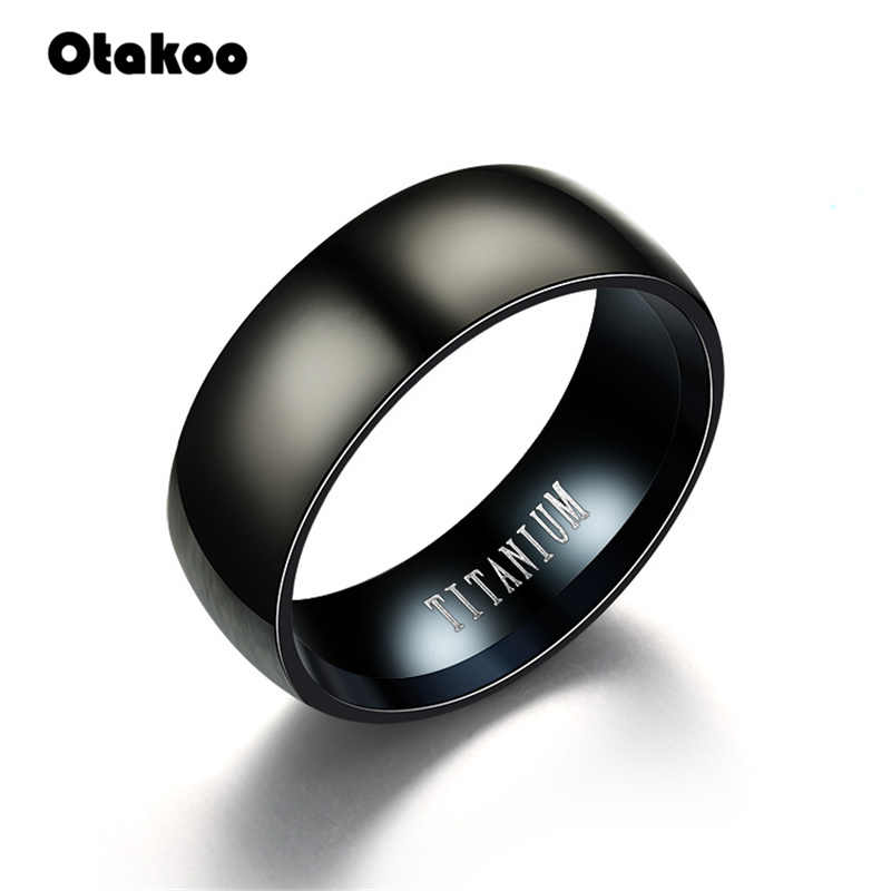 Otakoo 2018 חדש שחור גברים טבעת 100% טיטניום קרביד גברים של תכשיטי חתונה להקות החבר קלאסי מתנה