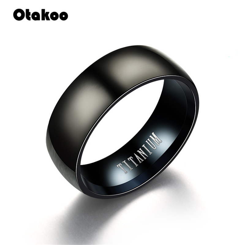 Otakoo 2018 New Black Men Ring 100% Titanium Carbide Men's Jewelry Wedding Bands Classic Boyfriend Gift