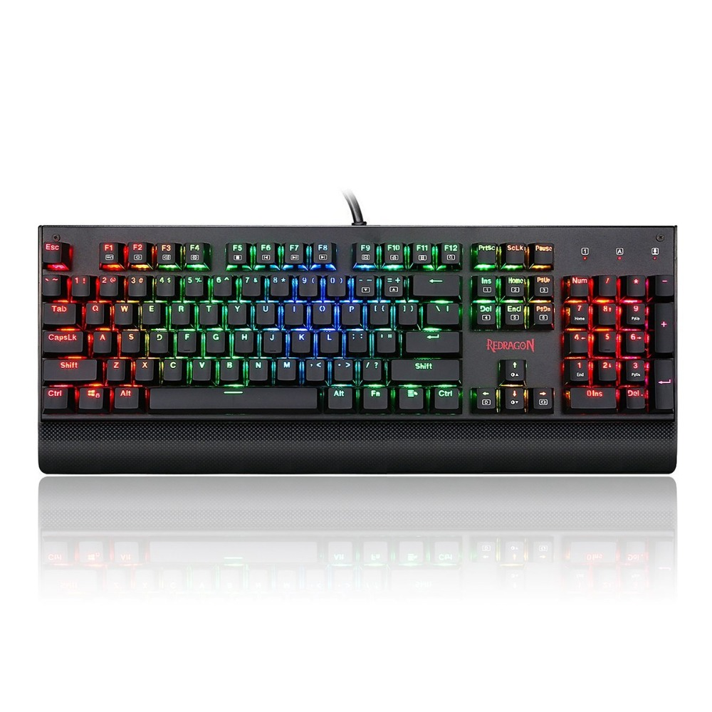 Redragon K557 KALA RGB Backlit Mechanical Gaming Keyboard 104 keys Anti-ghosting Blue Switches [english] tronsmart tk09r mechanical keyboard gaming keyboard 104 keys with rgb backlit macro blue switches for gamers dota 2