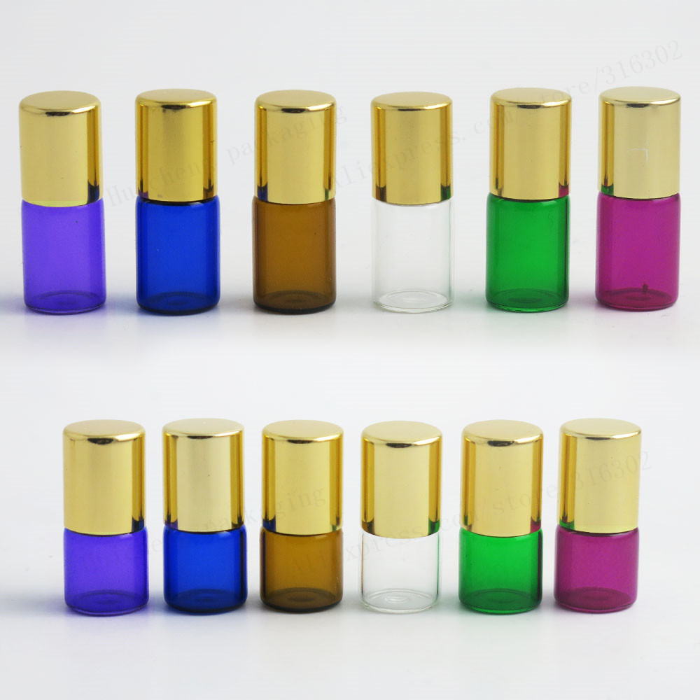 High Quality Travel Empty 1ml 2ml 3ml Color roll on roller bottles for essential oils roll-on refillable perfume bottle 500pcs