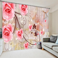 Pink rose painting Blackout Curtains Living Room hotel Drapes Cortians Sunshade Window Curtain 3D Curtains