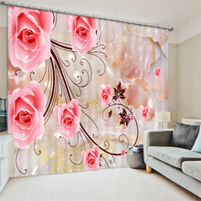Pink rose painting Blackout font b Curtains b font Living Room hotel Drapes Cortians Sunshade font