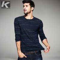 2016 Autumn Mens Casual T Shirts 100 Cotton Blue Striped Brand Clothing Slim Long Sleeve Man
