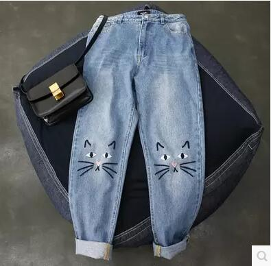 Cute Cat Pattern Embroidery Women Jeans Woman Push Up Jeans With High Waist Mom Denim Pants Femme Boyfriend Jeans For Women