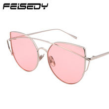 FEISEDY Fashion Vintage Cat Eye Sunglasses Women Metal Frame Mirror Round Sun Glasses Unique Flat UV400 Glasses Lunettes Gafas